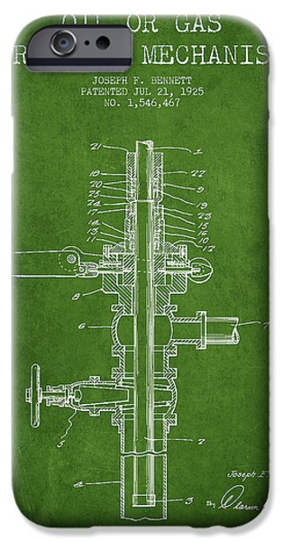 Industry iPhone Cases - Oil or Gas Drilling Mechanism Patent From 1925 - Green iPhone Case by Aged Pixel