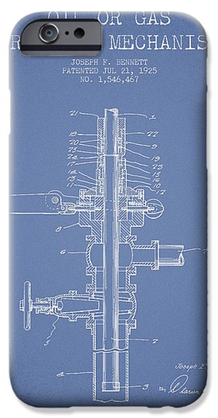 Industry iPhone Cases - Oil or Gas Drilling Mechanism Patent From 1925 - Light Blue iPhone Case by Aged Pixel