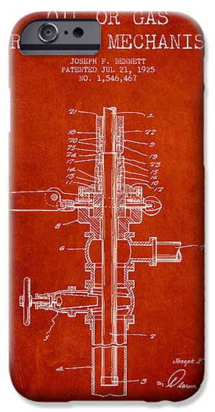 Industry iPhone Cases - Oil or Gas Drilling Mechanism Patent From 1925 - Red iPhone Case by Aged Pixel