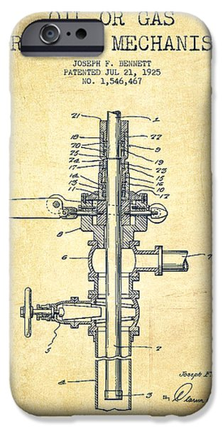 Industry iPhone Cases - Oil or Gas Drilling Mechanism Patent From 1925 - Vintage iPhone Case by Aged Pixel