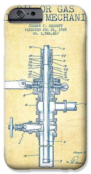 Industry iPhone Cases - Oil or Gas Drilling Mechanism Patent From 1925 - Vintage Paper iPhone Case by Aged Pixel