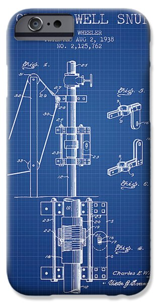 Gas iPhone Cases - Oil or Gas Well snuffer patent from 1938 - Blueprint iPhone Case by Aged Pixel