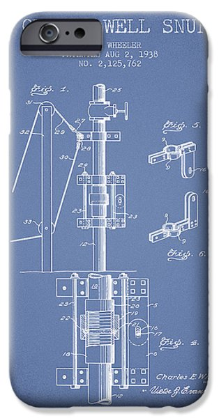 Gas iPhone Cases - Oil or Gas Well snuffer patent from 1938 - Light Blue iPhone Case by Aged Pixel