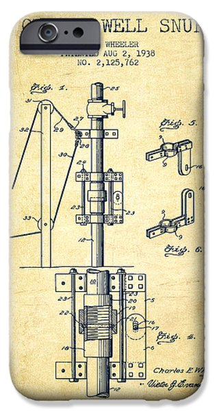 Gas iPhone Cases - Oil or Gas Well snuffer patent from 1938 - Vintage iPhone Case by Aged Pixel