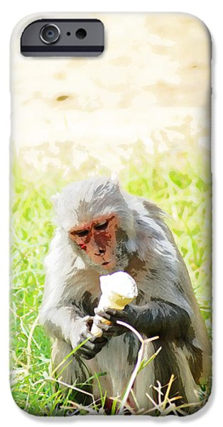 Recently Sold -  - Pleasure iPhone Cases - Oil Painting - A monkey eating an ice cream iPhone Case by Ashish Agarwal