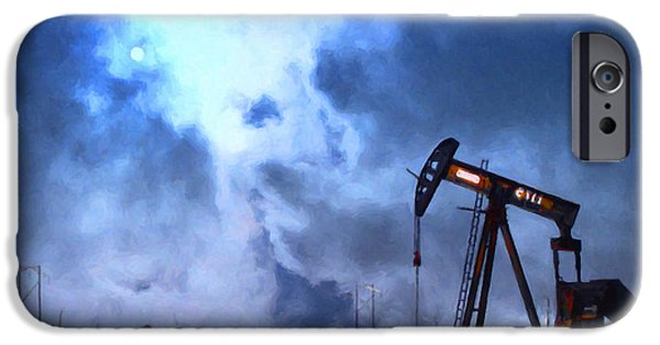 Wing Tong Digital iPhone Cases - Oil Pump Field iPhone Case by Wingsdomain Art and Photography