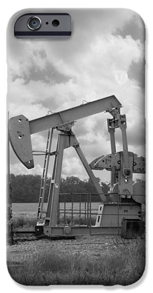 Recently Sold -  - Business iPhone Cases - Oil Pump Jack in Black and White photography iPhone Case by Ann Powell
