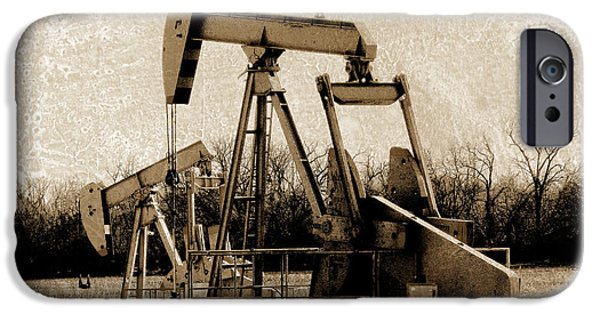Ann Powell iPhone Cases - Oil Pump Jack in Sepia iPhone Case by Ann Powell