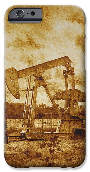 Ann Powell iPhone Cases - Oil Pump Jack in Sepia Two iPhone Case by Ann Powell