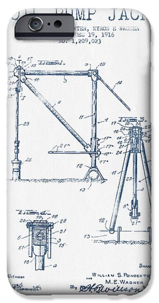 Industry iPhone Cases - Oil Pump Jack Patent Drawing From 1916 -  Blue Ink iPhone Case by Aged Pixel