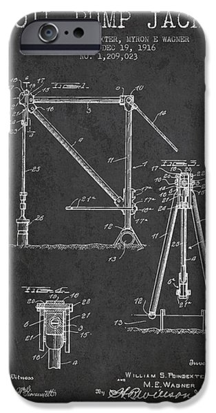 Industry iPhone Cases - Oil Pump Jack Patent Drawing From 1916 - Dark iPhone Case by Aged Pixel