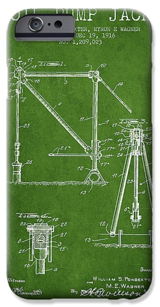 Industry iPhone Cases - Oil Pump Jack Patent Drawing From 1916 - Green iPhone Case by Aged Pixel