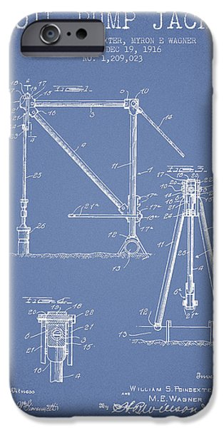 Industry iPhone Cases - Oil Pump Jack Patent Drawing From 1916 - Light Blue iPhone Case by Aged Pixel