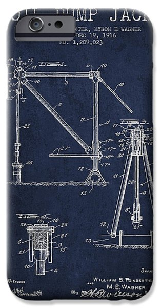 Industry Digital Art iPhone Cases - Oil Pump Jack Patent Drawing From 1916 - Navy Blue iPhone Case by Aged Pixel