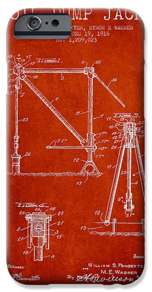 Industry iPhone Cases - Oil Pump Jack Patent Drawing From 1916 - Red iPhone Case by Aged Pixel