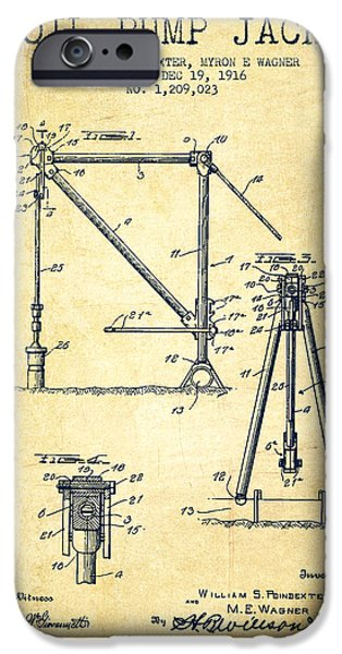 Industry iPhone Cases - Oil Pump Jack Patent Drawing From 1916 - Vintage iPhone Case by Aged Pixel