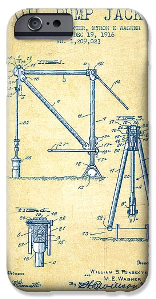 Industry iPhone Cases - Oil Pump Jack Patent Drawing From 1916 - Vintage Paper iPhone Case by Aged Pixel