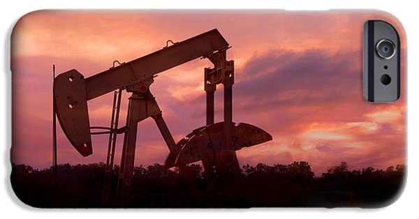 Silhoette iPhone Cases - Oil Pump Jack Sunset iPhone Case by Ann Powell