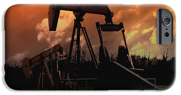 Silhoette iPhone Cases - Oil Pump Jack with Colorful Sky iPhone Case by Ann Powell