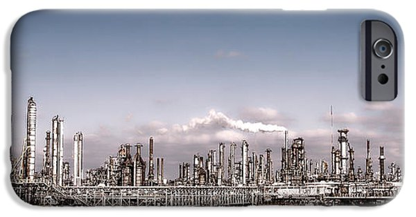 Chimney iPhone Cases - Oil Refinery iPhone Case by Olivier Le Queinec