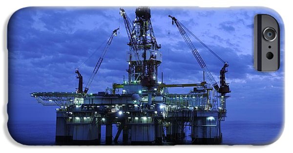 Sea Platform iPhone Cases - Oil Rig At Twilight iPhone Case by Bradford Martin