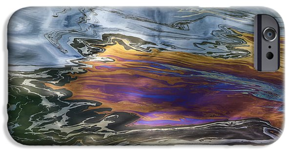 Oil Slick iPhone Cases - Oil Slick Abstract iPhone Case by Sheldon Kralstein