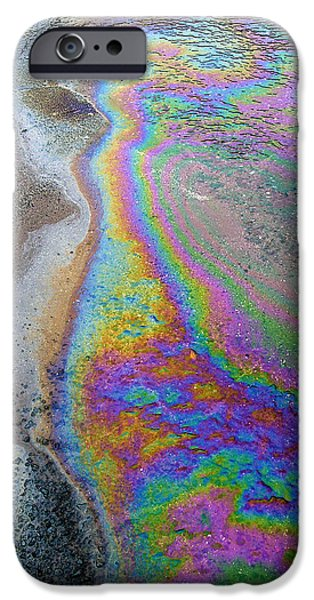 Oil Slick iPhone Cases - Oil Slick On Water iPhone Case by Panoramic Images