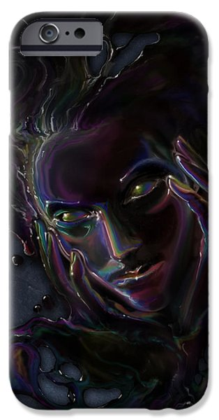 Phantasie Digital Art iPhone Cases - Oil Spill iPhone Case by Cassiopeia Art