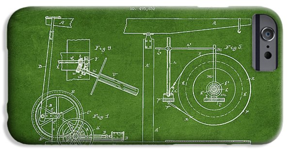 Industry iPhone Cases - Oil Well Apparatus Patent from 1893 - Green iPhone Case by Aged Pixel