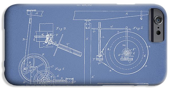 Industry iPhone Cases - Oil Well Apparatus Patent from 1893 - Light Blue iPhone Case by Aged Pixel
