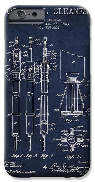 Industry iPhone Cases - Oil Well Cleaner Patent From 1903 - Navy Blue iPhone Case by Aged Pixel