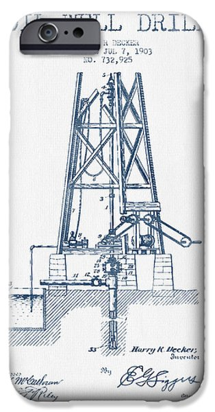 Industry iPhone Cases - Oil Well Drill Patent From 1903 -  Blue Ink iPhone Case by Aged Pixel