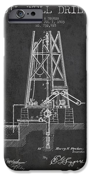 Industry iPhone Cases - Oil Well Drill Patent From 1903 - Dark iPhone Case by Aged Pixel