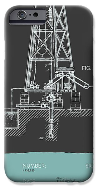 Industry iPhone Cases - Oil Well Drill Patent From 1903 - Gray Blue iPhone Case by Aged Pixel