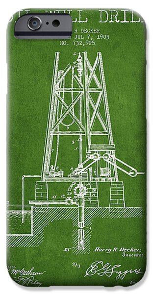 Industry iPhone Cases - Oil Well Drill Patent From 1903 - Green iPhone Case by Aged Pixel