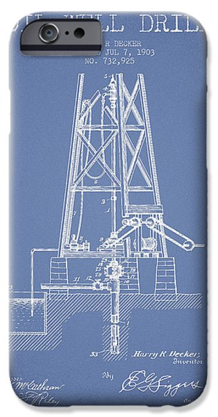 Industry iPhone Cases - Oil Well Drill Patent From 1903 - Light Blue iPhone Case by Aged Pixel