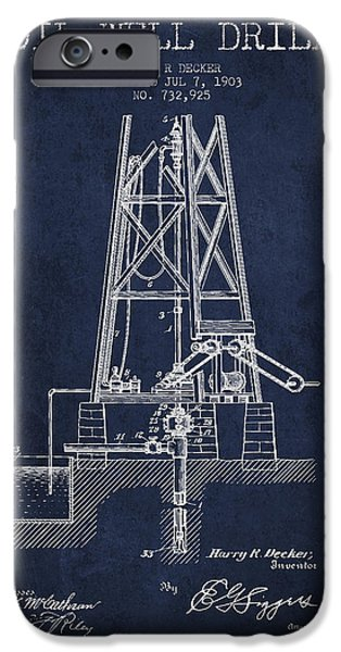 Industry iPhone Cases - Oil Well Drill Patent From 1903 - Navy Blue iPhone Case by Aged Pixel