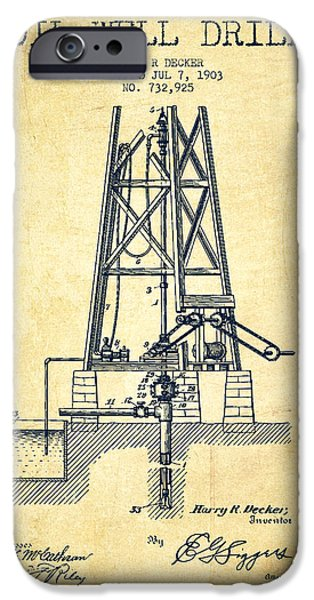 Industry iPhone Cases - Oil Well Drill Patent From 1903 - Vintage iPhone Case by Aged Pixel