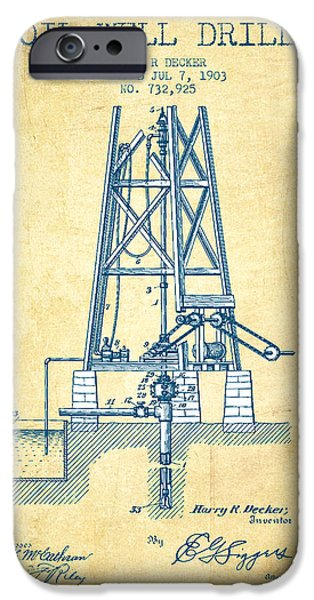 Industry iPhone Cases - Oil Well Drill Patent From 1903 - Vintage Paper iPhone Case by Aged Pixel