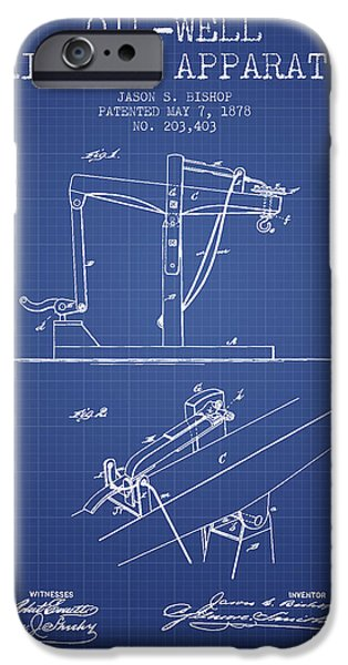 Industry iPhone Cases - Oil Well Drilling Apparatus Patent From 1878 - Blueprint iPhone Case by Aged Pixel