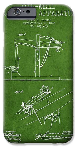 Industry iPhone Cases - Oil Well Drilling Apparatus Patent From 1878 - Green iPhone Case by Aged Pixel