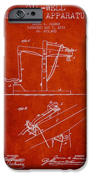 Industry iPhone Cases - Oil Well Drilling Apparatus Patent From 1878 - Red iPhone Case by Aged Pixel