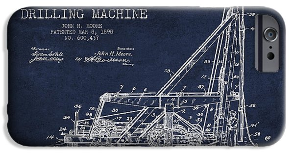 Industry Digital Art iPhone Cases - Oil Well drilling Machine Patent from 1898 - Navy Blue iPhone Case by Aged Pixel
