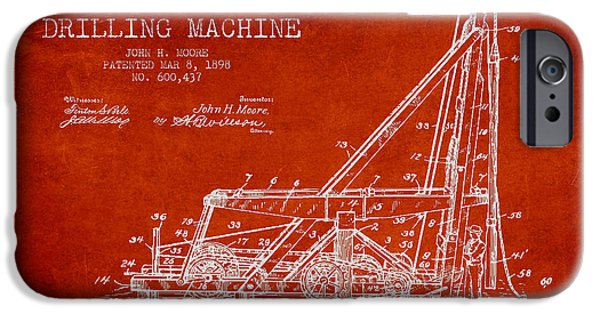 Industry Digital Art iPhone Cases - Oil Well drilling Machine Patent from 1898 - Red iPhone Case by Aged Pixel