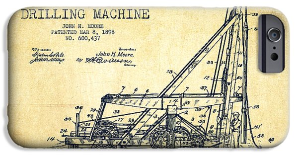 Industry iPhone Cases - Oil Well drilling Machine Patent from 1898 - Vintage iPhone Case by Aged Pixel