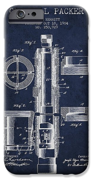 Technical Drawings iPhone Cases - Oil Well Packer patent from 1904 - Navy Blue iPhone Case by Aged Pixel
