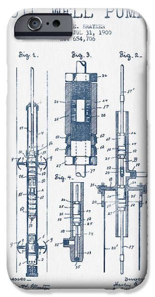 Industry iPhone Cases - Oil Well Pump Patent From 1900 -  Blue Ink iPhone Case by Aged Pixel