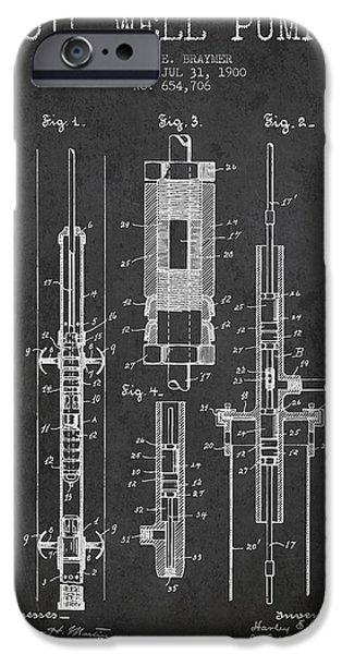 Industry iPhone Cases - Oil Well Pump Patent From 1900 - Dark iPhone Case by Aged Pixel