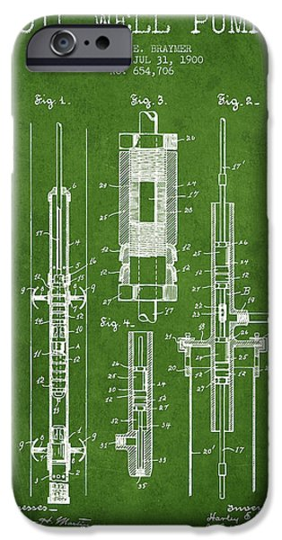 Industry iPhone Cases - Oil Well Pump Patent From 1900 - Green iPhone Case by Aged Pixel