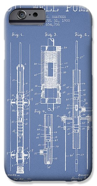 Well iPhone Cases - Oil Well Pump Patent From 1900 - Light Blue iPhone Case by Aged Pixel